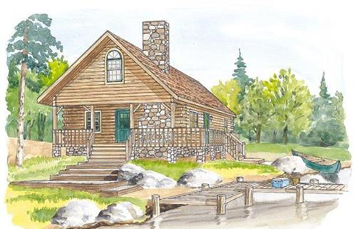 Timberhaven log home design, log home floor plan, Milton, Elevation