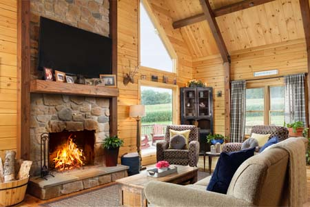 Timberhaven log home design, log home floor plan, Modified Aspen Hill I, Elevation