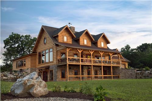 Timberhaven log home design, log home floor plan, Modified Pleasant Grove - Karchner, Elevation