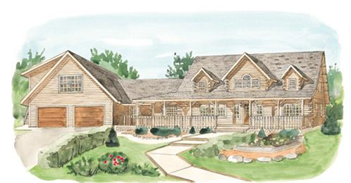 Timberhaven log home design, log home floor plan, Montgomery, Elevation