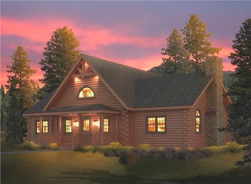 Timberhaven log home design, log home floor plan, Moshannon F1, R1, RR1, L1, Elevation