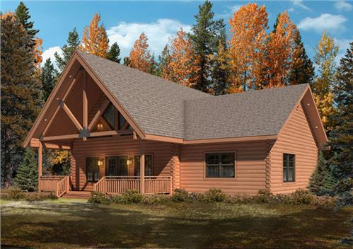 Timberhaven log home design, log home floor plan, Moshannon F3, R3, Elevation