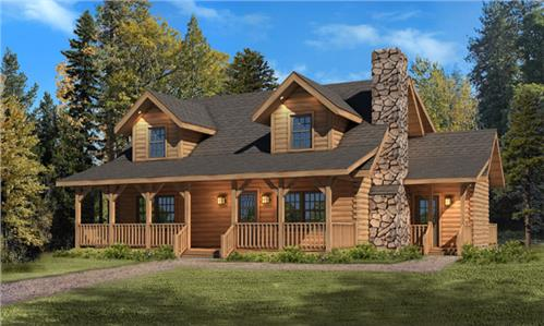 Timberhaven log home design, log home floor plan, Mountain View I, Elevation