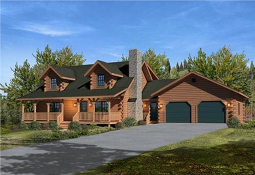 Timberhaven log home design, log home floor plan, Mountain View II, Elevation