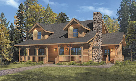 Timberhaven log home design, log home floor plan, Mountain View, Elevation