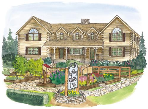 Timberhaven log home design, log home floor plan, New Colony Inn, Elevation