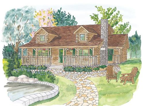 Timberhaven log home design, log home floor plan, North Carolina, Elevation