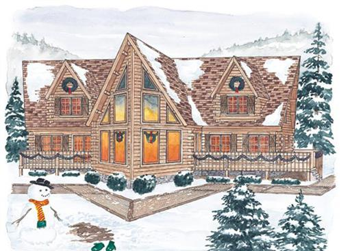 Timberhaven log home design, log home floor plan, Northumberland, Elevation