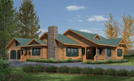 Timberhaven log home design, log home floor plan, Northwood Log Hybrid, Elevation