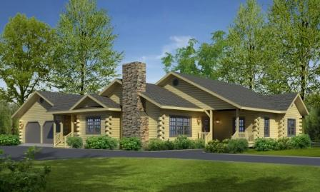 Timberhaven log home design, log home floor plan, Northwood, Elevation