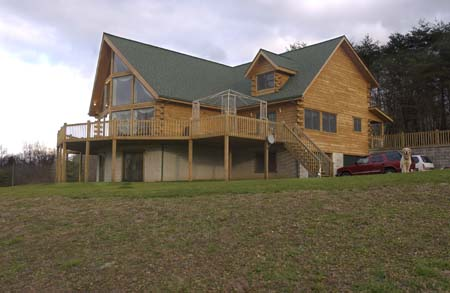 Timberhaven log home design, log home floor plan, Norton, Elevation