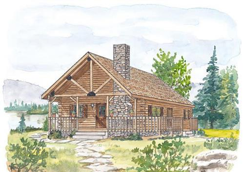 Timberhaven log home design, log home floor plan, Pendleton, Elevation