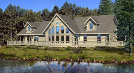 Timberhaven log home design, log home floor plan, Pennington, Elevation