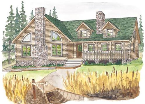 Timberhaven log home design, log home floor plan, Penns Creek, Elevation