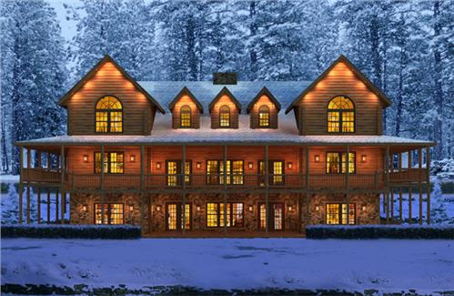 Timberhaven log home design, log home floor plan, Pennsbury, Elevation