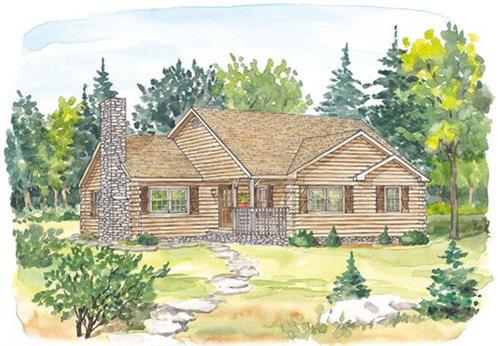 Timberhaven log home design, log home floor plan, Pennsylvania, Elevation