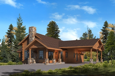 Timberhaven log home design, log home floor plan, Pine Ridge, Elevation