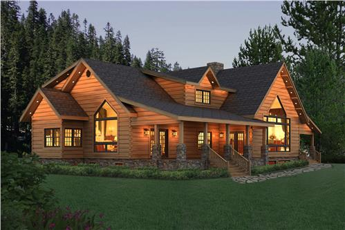 Timberhaven log home design, log home floor plan, Pleasant Grove, Elevation