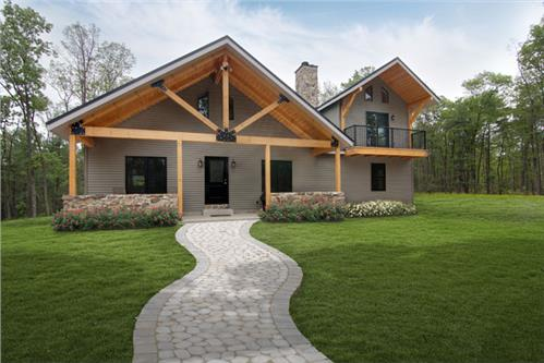 Timberhaven log home design, log home floor plan, Post and Beam - Hobbins, Elevation