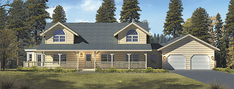 Timberhaven log home design, log home floor plan, River View, Elevation