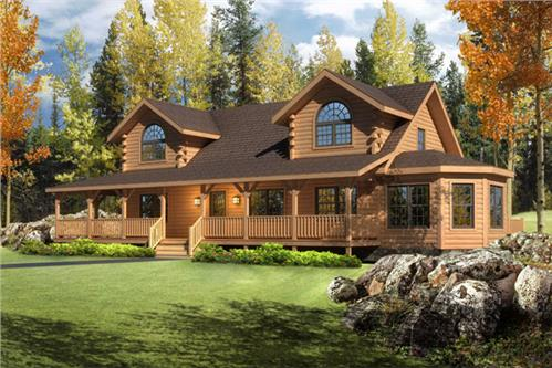 Timberhaven log home design, log home floor plan, Riverview, Elevation