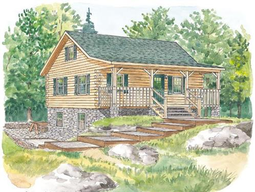 Timberhaven log home design, log home floor plan, Roaring Creek, Elevation
