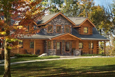 Timberhaven log home design, log home floor plan, Sacchini Log Cabin Home, Elevation