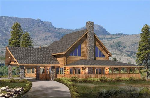 Timberhaven log home design, log home floor plan, Santiago, Elevation
