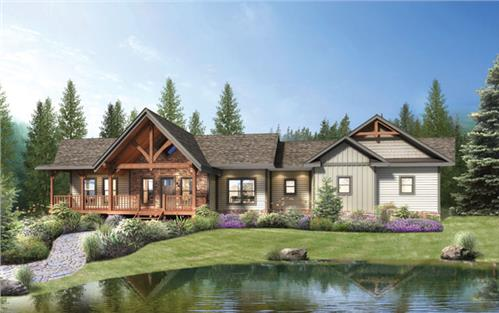 Timberhaven log home design, log home floor plan, Saratoga Hybrid, Elevation