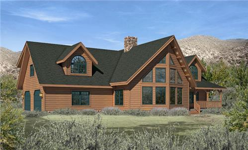Timberhaven log home design, log home floor plan, Saybrook, Elevation