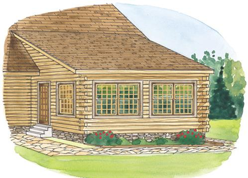 Timberhaven log home design, log home floor plan, Shed Dormer Sun Room, Elevation