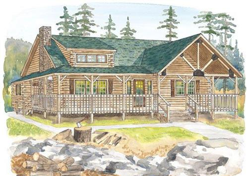 Timberhaven log home design, log home floor plan, Sheffield, Elevation