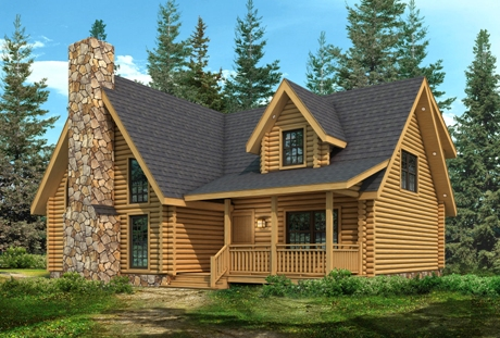 Timberhaven log home design, log home floor plan, Shenango FP1-W7-RR3, Elevation
