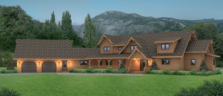 Timberhaven log home design, log home floor plan, Shiloh, Elevation