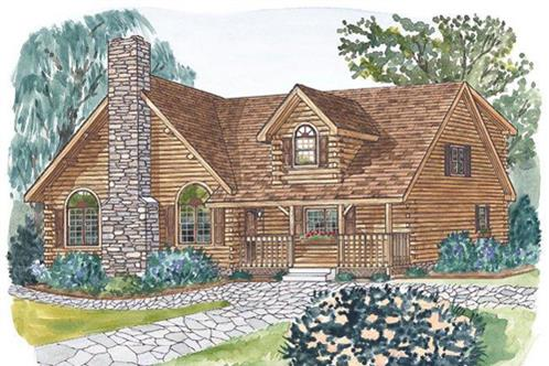 Timberhaven log home design, log home floor plan, Sterling A, Elevation