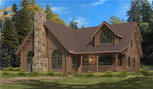 Timberhaven log home design, log home floor plan, Sterling, Elevation