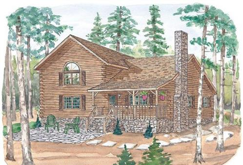 Timberhaven log home design, log home floor plan, Stonington A, Elevation