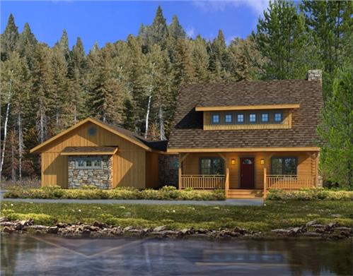 Timberhaven log home design, log home floor plan, Stony Creek Log Hybrid, Elevation