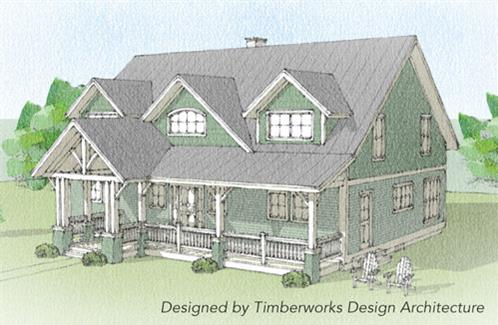 Timberhaven log home design, log home floor plan, Sugar Hill Timber Frame, Elevation