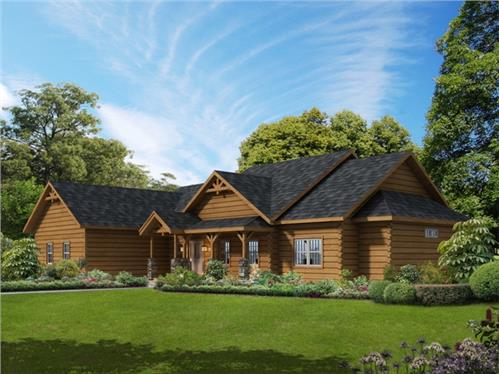Timberhaven log home design, log home floor plan, Sullivan, Elevation