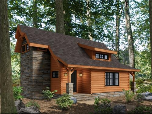Timberhaven log home design, log home floor plan, Summer Feature - Goose Creek, Elevation
