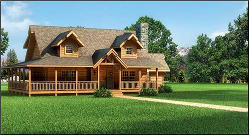 Timberhaven log home design, log home floor plan, Swatara FP2-R4, Elevation