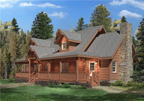 Timberhaven log home design, log home floor plan, Swatara I, Elevation