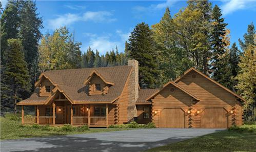 Timberhaven log home design, log home floor plan, Swatara II, Elevation
