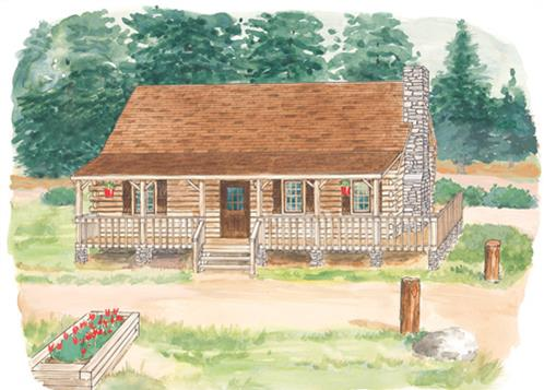 Timberhaven log home design, log home floor plan, Sylvandel, Elevation