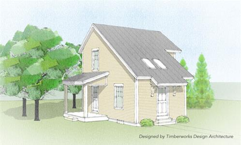 Timberhaven log home design, log home floor plan, The Philo Timber Frame, Elevation