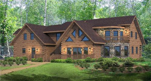 Timberhaven log home design, log home floor plan, Thompson's Lake, Elevation