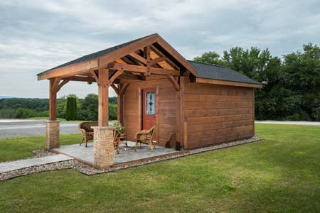Timberhaven log home design, log home floor plan, Timber Frame Pavilion and Shed, Elevation