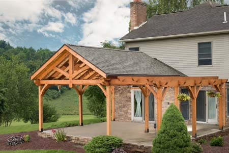 Timberhaven log home design, log home floor plan, Timber Frame Pergola Pavilion, Elevation