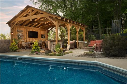 Timberhaven log home design, log home floor plan, Timber Frame Pool House Pavilion, Elevation